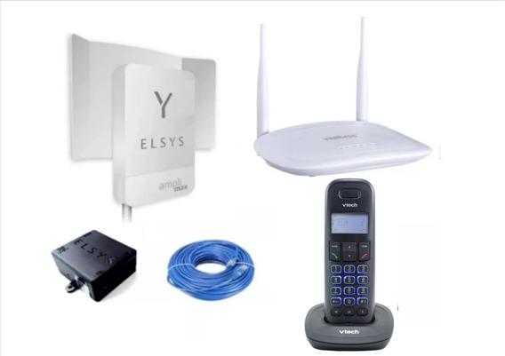 Kit Internet Rural Amplimax 4g + Tel Sem Fio Id + Roteador