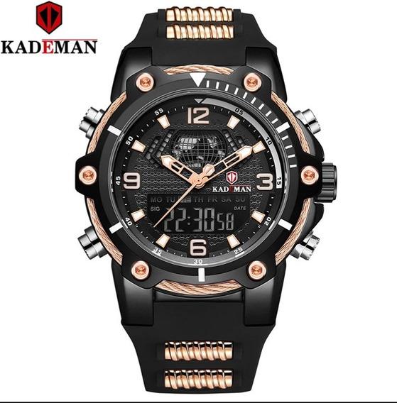 Relógio Caixa Grande Azul/dourado Kademan Híbrido A Prova D