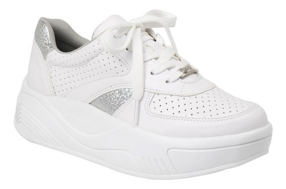 Zapatillas Mujer Blancas Plataforma Vía Marte Importadas.