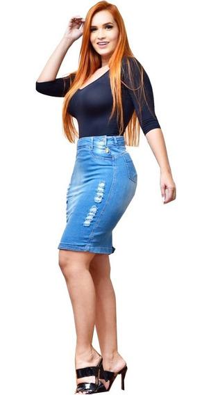 Saia Jeans Destroyed Com Botões Jeans Azul Social Evangelica