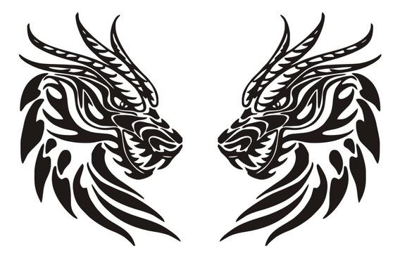 Calcomanía Dragon Tribal 08 - 2 Unidades - Graficastuning