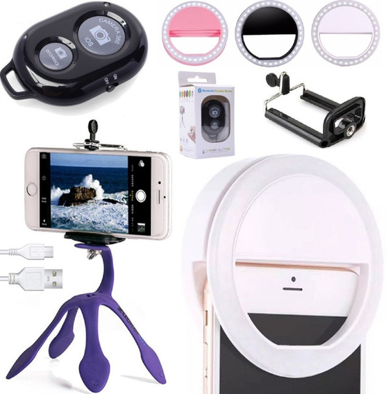 Kit Youtuber Tripé Celular Luz Ring Light Flash + Bluetooth