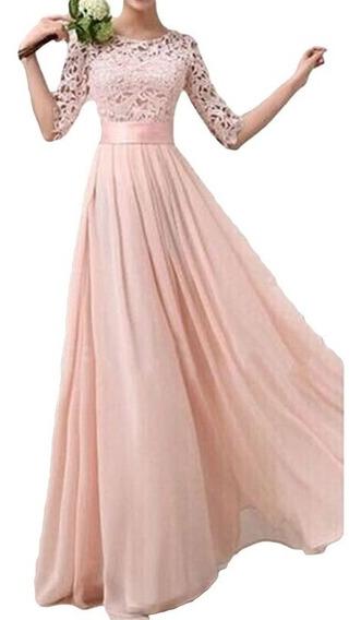 Maxi Vestido Elegante De Fiesta De Princesa De Encaje Gasa