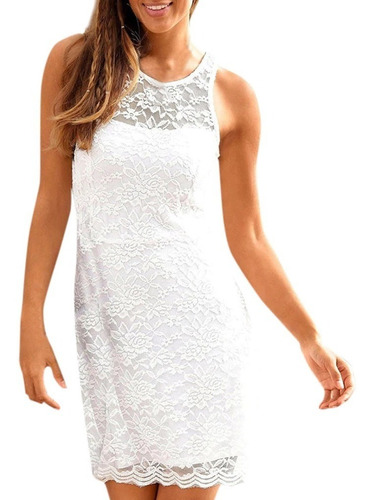 Vestido Blanco Tallas S M L De Encaje Nuevo Delgado