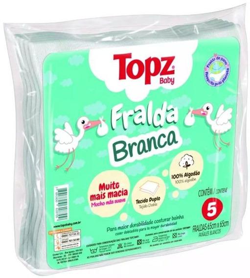 Fralda De Pano Topz Baby Cremer Branca Lisa Luxo 5un