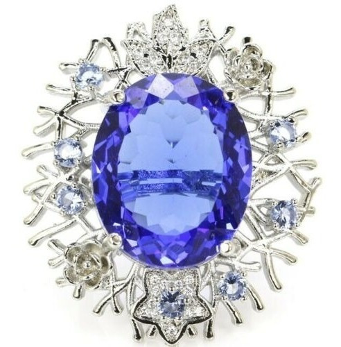 Anel Feminino Luxo Grande Solitário Zircônia Azul Safira