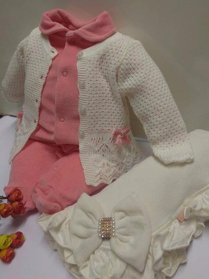 Saida Maternidade Paraiso Macacao Bebe Menina Plush Cod 7067