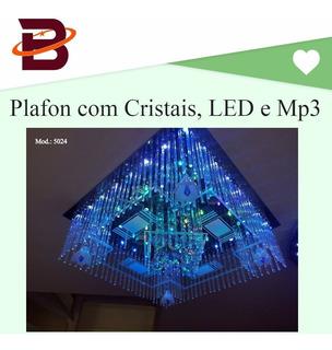 5024 Lustre Plafon Com Cristais K9, Led E Mp3 - 110v E 220v.