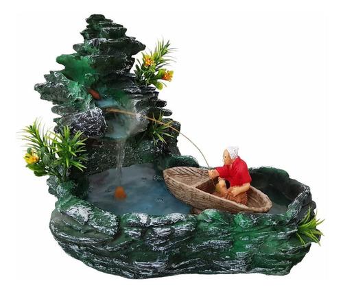 Fonte Água Pedra Cascata Pescador Com Barquinho Decoração