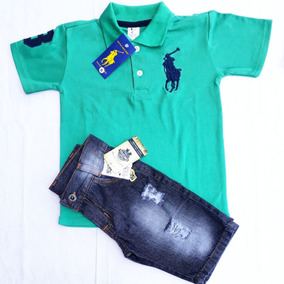 Conjunto Polo Infantil Calça Bermuda Jeans Com Regulagem