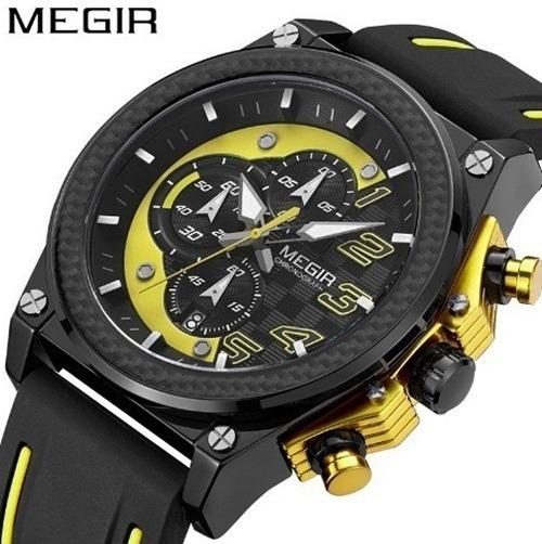 Relógio Masculino Homem Esportivo Megir Amarelo Cronos