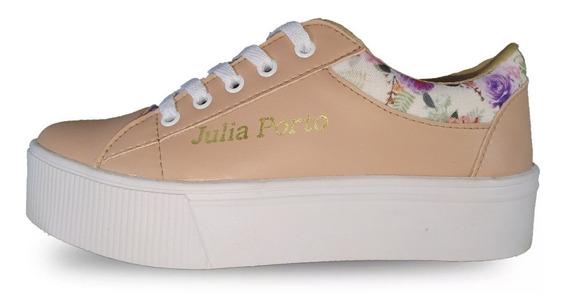 Tenis Plataforma Feminino Julia Porto Sapatênis Estampa Flor