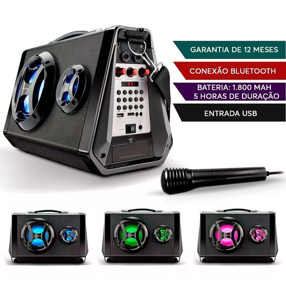 Caixa De Som Multilaser Led Bluetooth Amplificada Sp217 Usb