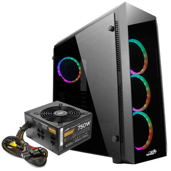 Gabinete Pc Gamer Sentey Z20 4fan Rgb + Fuente Mbp750 80plus