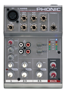 Phonic Am55 Mixer 1 Canal Mono + 2 Canales Stereo