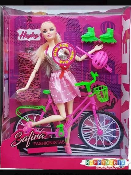 Boneca Com Bicicleta Articulada E Músical