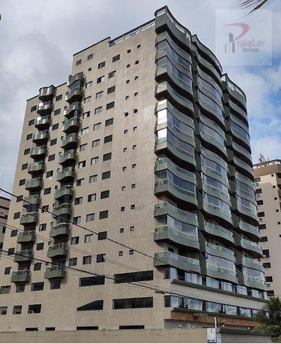Apartamento Com 3 Dormitórios 1 Suíte, Terraço Com Churrasqueira, Prédio Frente Mar, Aceita Financiamento, À Venda, 110 M² - Aviação - Praia Grande/sp - Ap2521