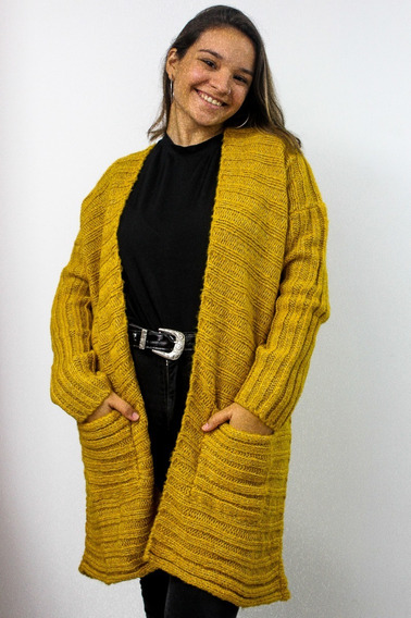 Saco Mujer Largo Lana Premium Invierno Con Bolsillos