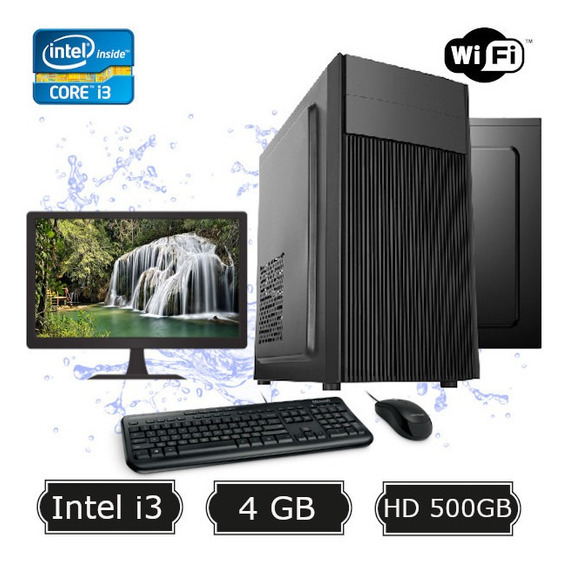 Computador Desktop I3 2100 8gb Hd 500gb Wifi Kit Monitor 17