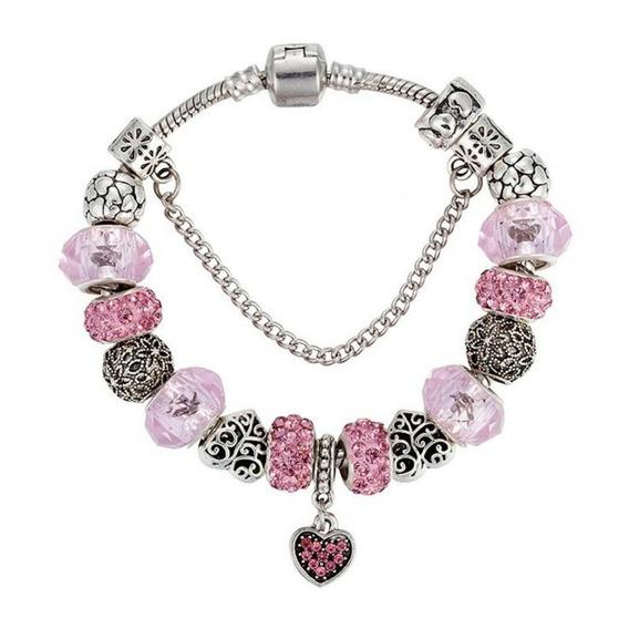 Pulseira Berloques Pink Heart 16cm Folheada Prata Com Trava