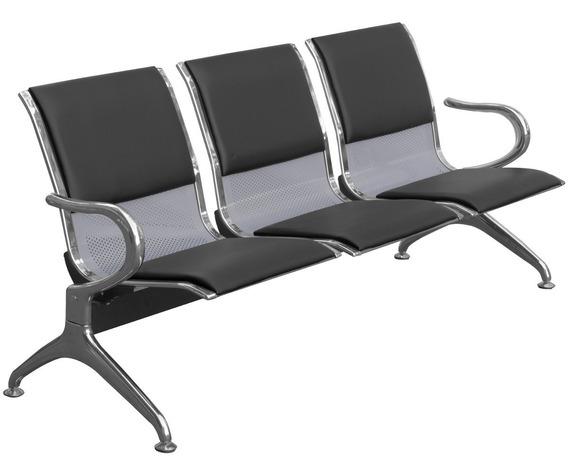 Cadeira Longarina Aeroporto 3 Lugares C/ Estofado - Preto