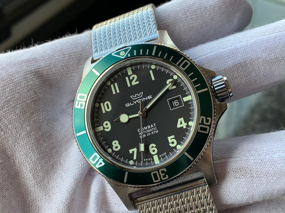 Relógio Glycine Combat Sub Green Mesh Automatic Gl0091