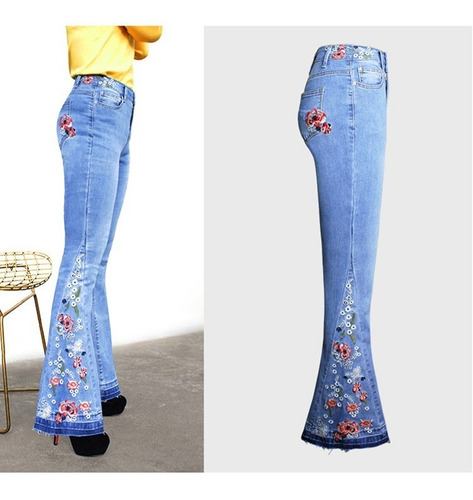 Pantalones Denim Senora Jeans Mujer Acampanada Moda Mercado Libre