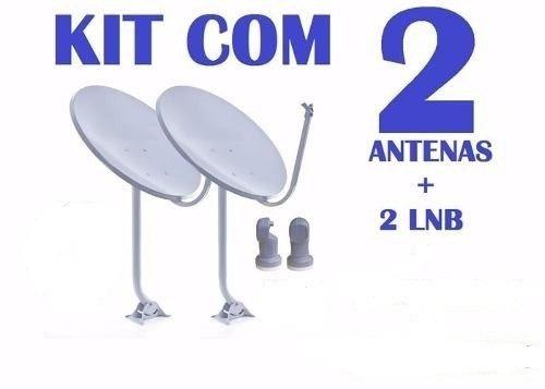 Kit 2 Antenas 60cm Ku + 2 Lnb Simples Universal (sem Logo)
