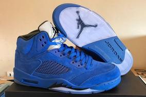 Tenis Nike Air Jordan 5 Retro Blue Suede Original