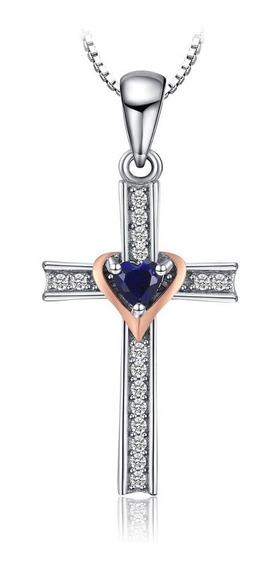 Dije Cruz Gema Zafiro Corazón Azul Ak Jewelry Plata 925 Oro