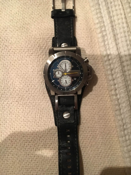 Relógio Fóssil Pulseira Couro Preto