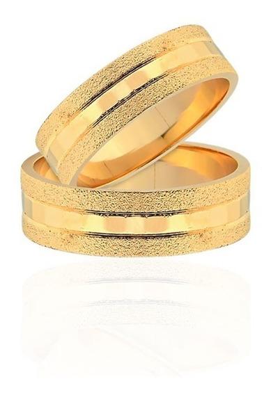 Par De Alianças De Casamento Bologna Em Ouro Amarelo 18k