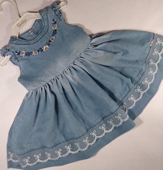 Vestido Bebê Menina Paraíso Jeans Infantil Criança Cód. 529