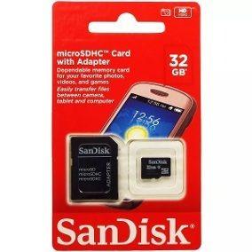 Cartão De Memória 32gb Micro Sd Sandisk Lacrado Adapta