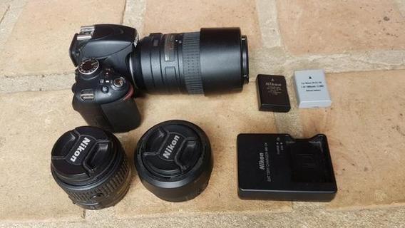 Nikon D3200 + 3 Lentes E 2 Baterias Com Carregador