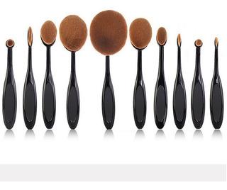 10 Pinceles Y Brochas De Maquillaje Ovaladas Oval Brush Caja