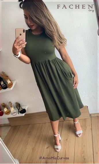 Vestido Maxi Liso Verde Militar 01