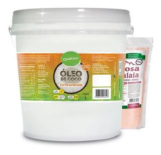 Kit Com Óleo De Coco Extra Virgem 3l Quali + 1kg De Sal Rosa