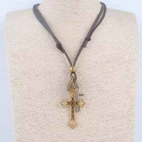 Colar Cordão Em Couro Masculino Feminino Cruz Crucifixo