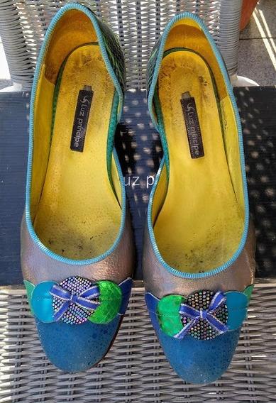 Zapatos De Verano, Variedad De Cueros Y Taco Cebra De 5cm