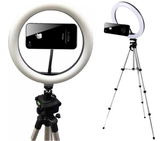Kit Iluminação Led Ring Light Circular + Tripé Suporte Celular Selfie Maquiador Youtuber Refletor Videos