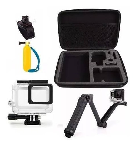 Kit Gopro 5 6 7 Boia 3 Way Mala Grande Estanque Pulseira 360