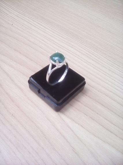 Anillo Con Piedra Jade Natural De Plata De Ley Solida 925