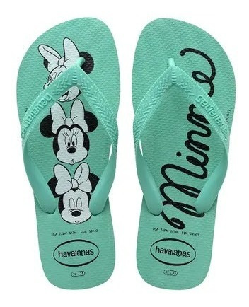 Chinelo Havaianas Top Disney Minnie -original- Verde Orvalho