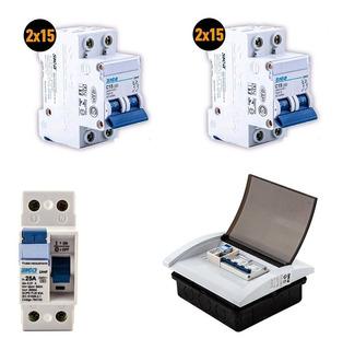 Kit 2 Termicas 2x15a + 1 Disyuntor 2x25a + Caja Pvc