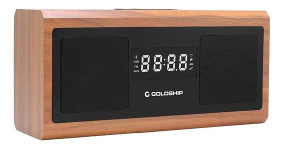 Caixa De Som Goldship Bluetooth Com Rádio Relógio 1 Cx-1490