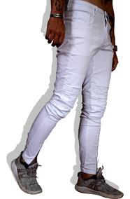Calça Jeans Masculina Biker Skinny Rasgada Branca Vcstilo