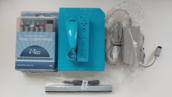 Nintendo Wii Azul Americano Novinho!! Funcionando 100% Ok!!