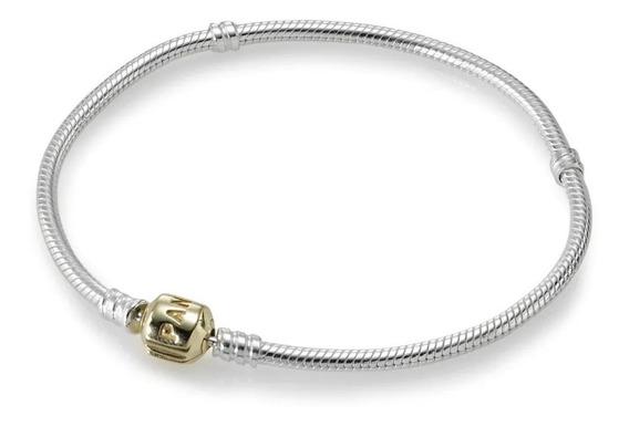 Bracelete Pandora De Prata De Lei Com Fecho De Ouro 19cm