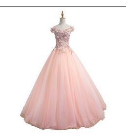 Vestido Debutante 15 Anos Rosa Bordado Saiote Brinde 008